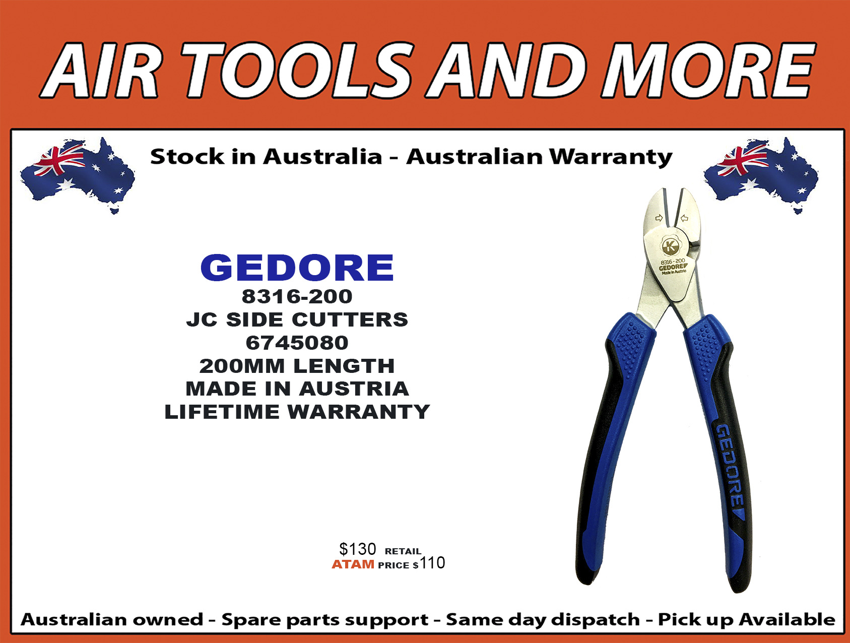 http://airtoolsandmore.com.au/tools/gedore-8316200-jc-side-cutters-p-619.html